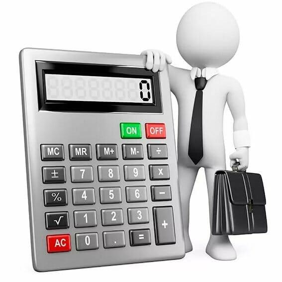 Человечек держит калькулятор