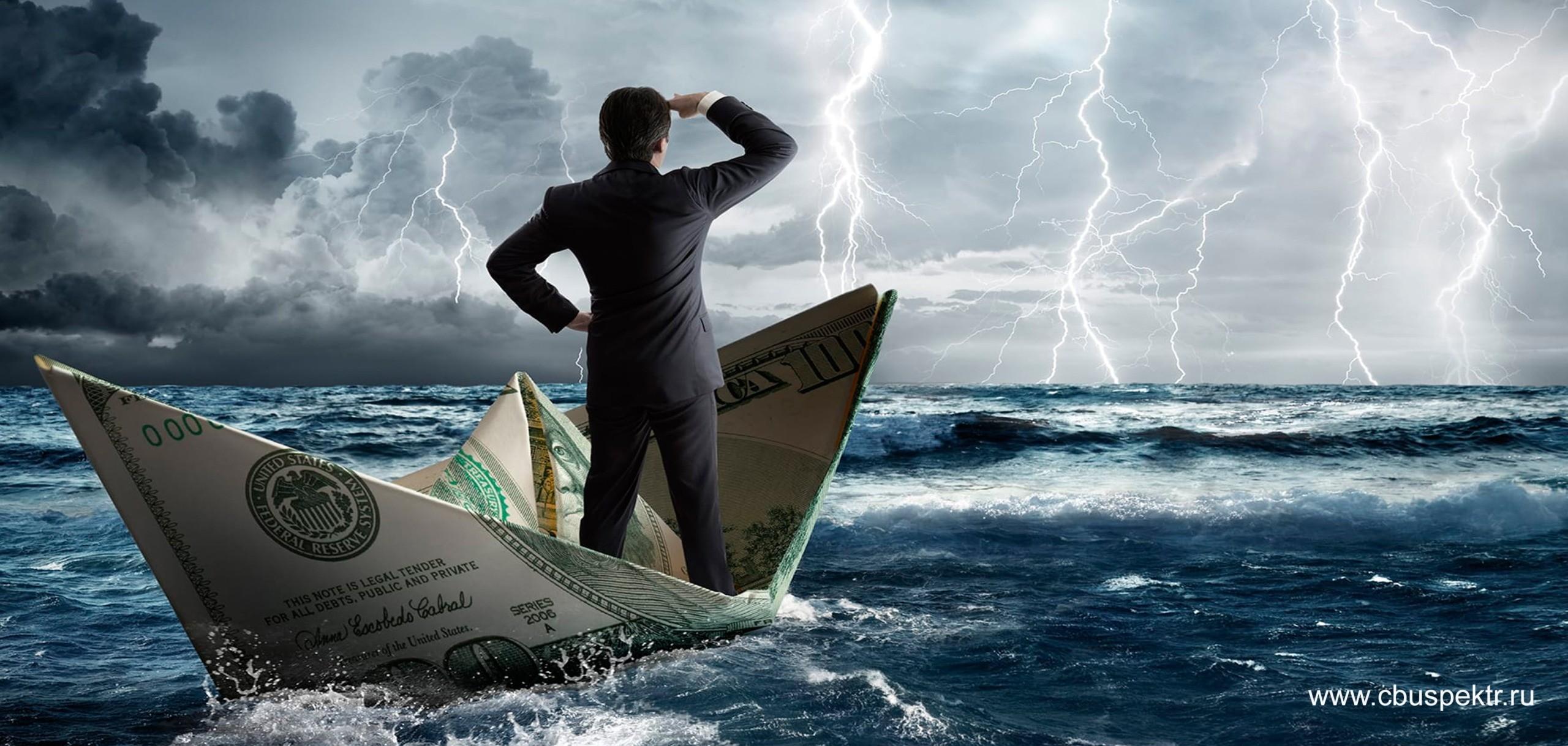 Предприниматель на бумажном кораблике в бушующем море