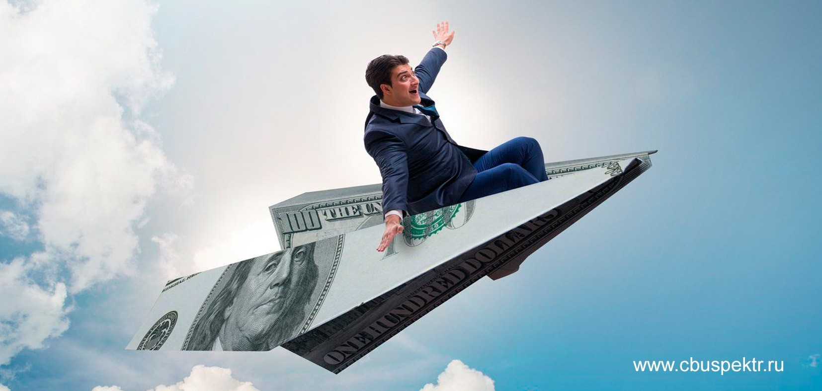 Бизнесмен летит на самолетике из долларовой купюры