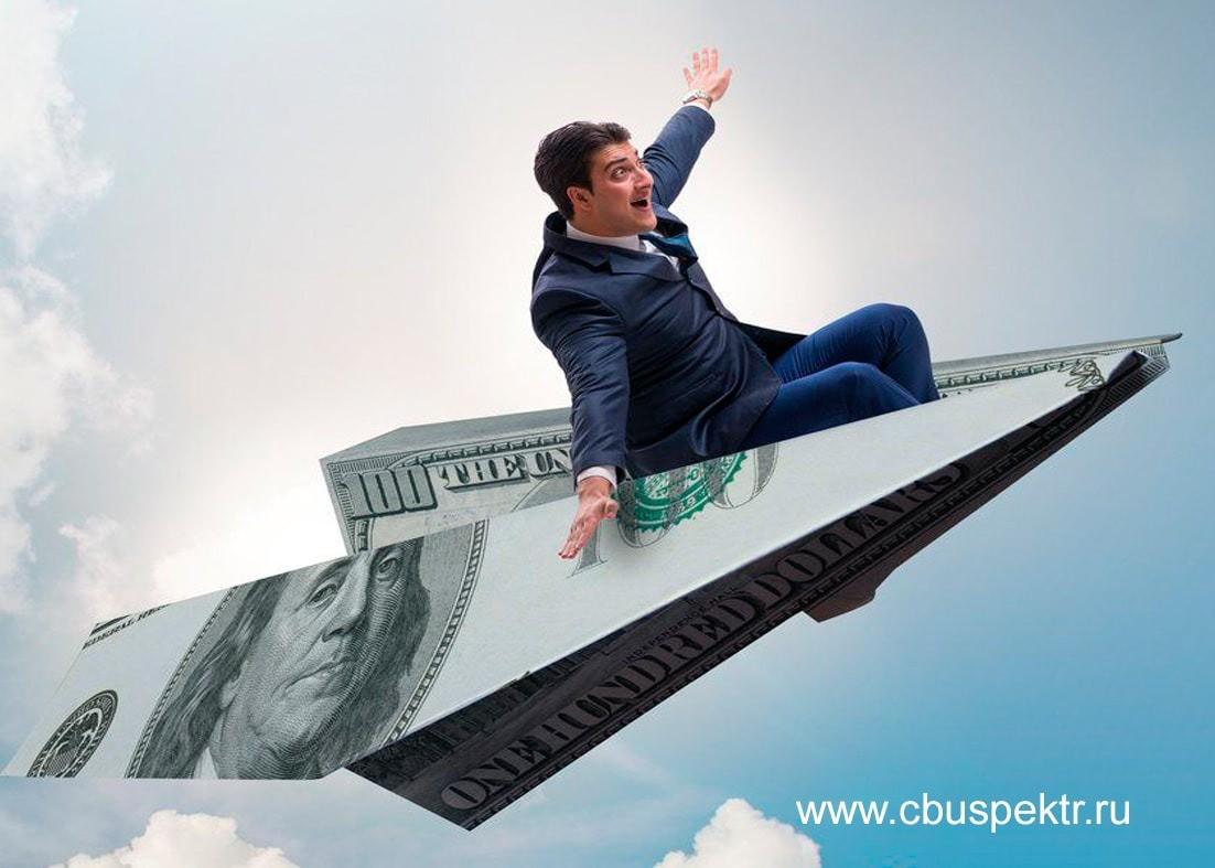 Предприниматель на бумажном самолетике витает в облаках