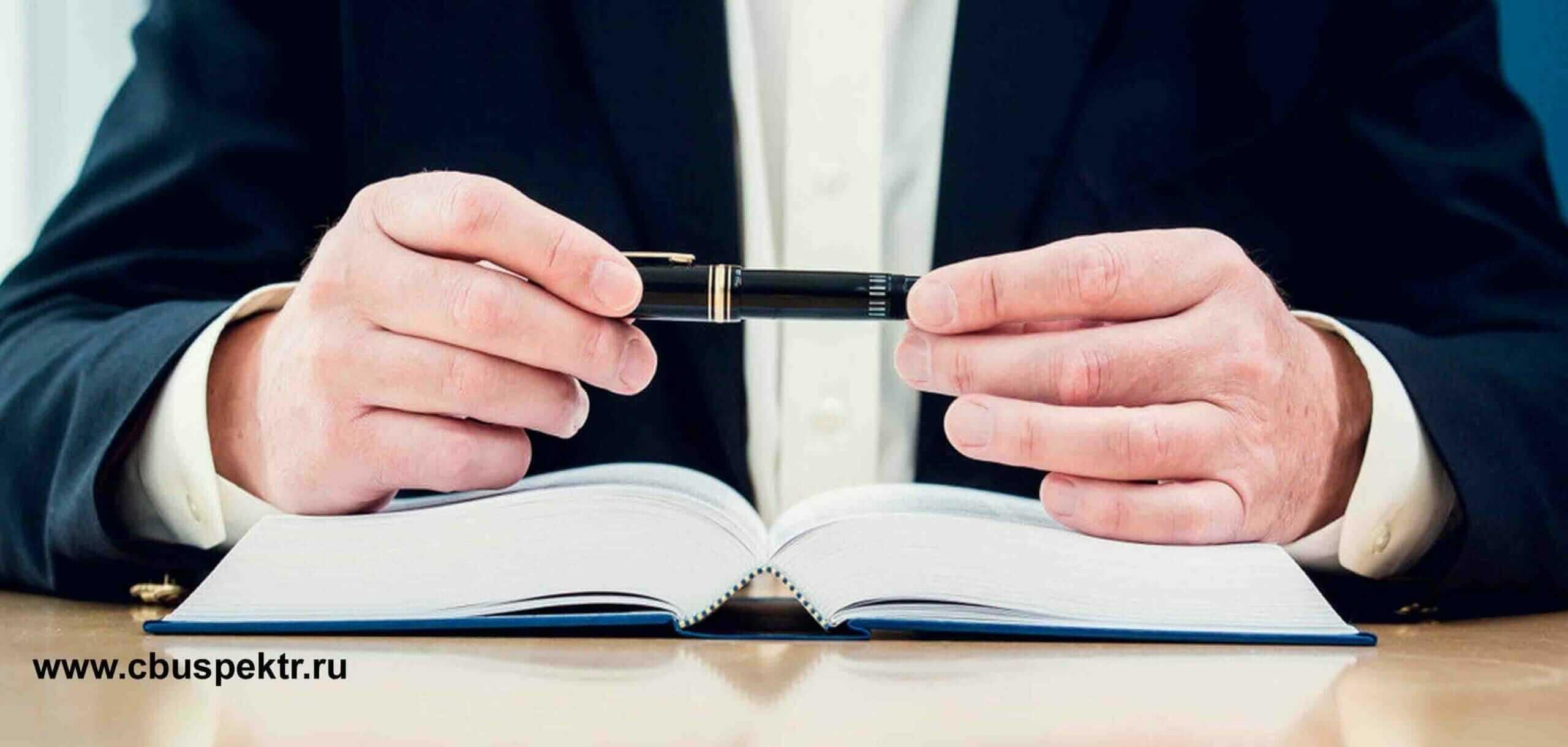Юрист с шариковой ручкой и ежедневником